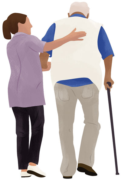 Carer supports client illustration