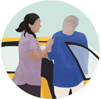 Carer assists client at car illustration
