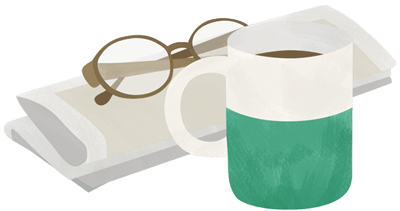 Paper and mug illustration